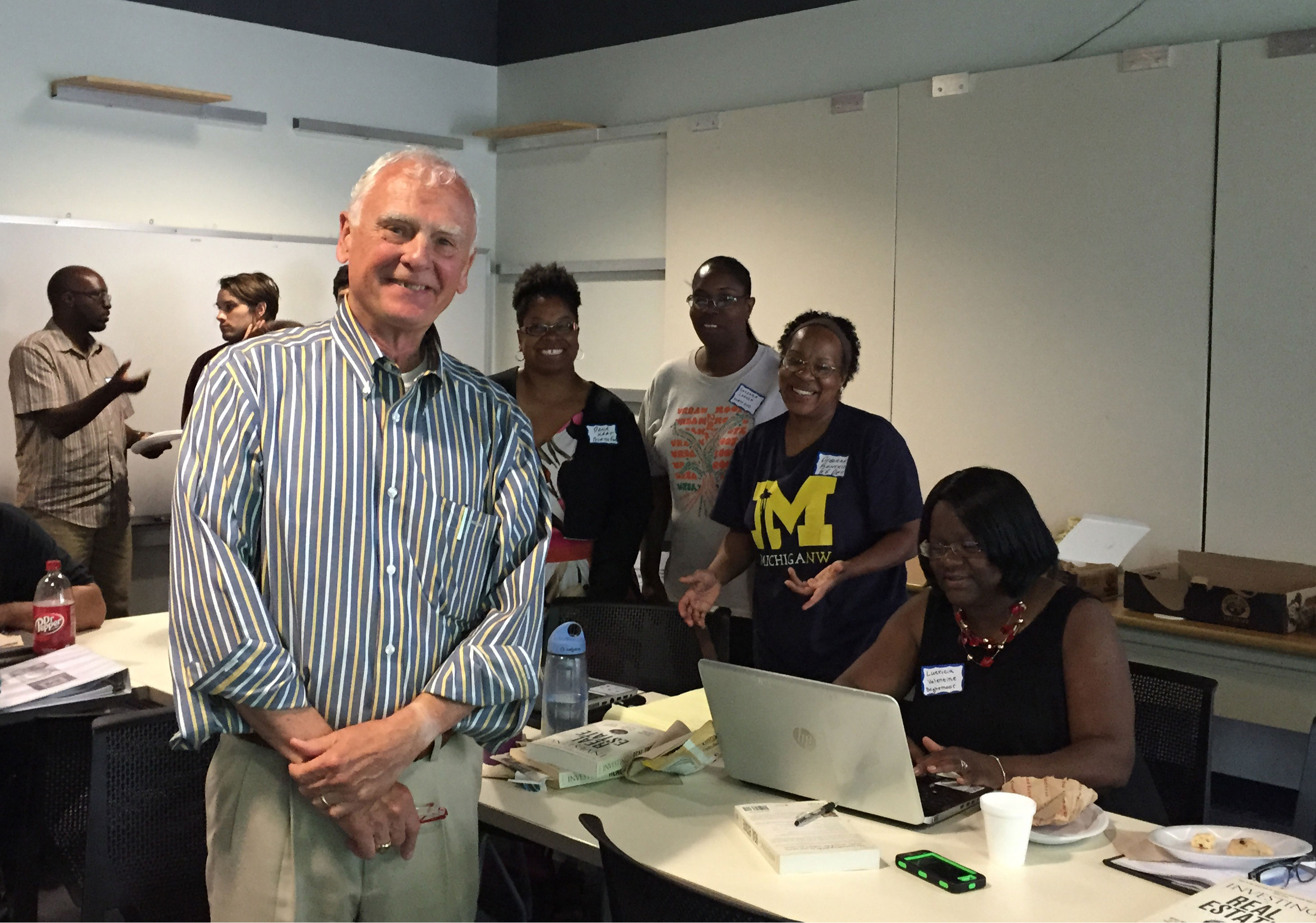 Peter Allen, an adjunct lecturer at U-M's Ross School of Business, started a summer real estate class recently at U-M's Detroit Center to 18 students who came from all corners of the city and want to be part of Detroit's turnaround. Image credit: Greta Guest