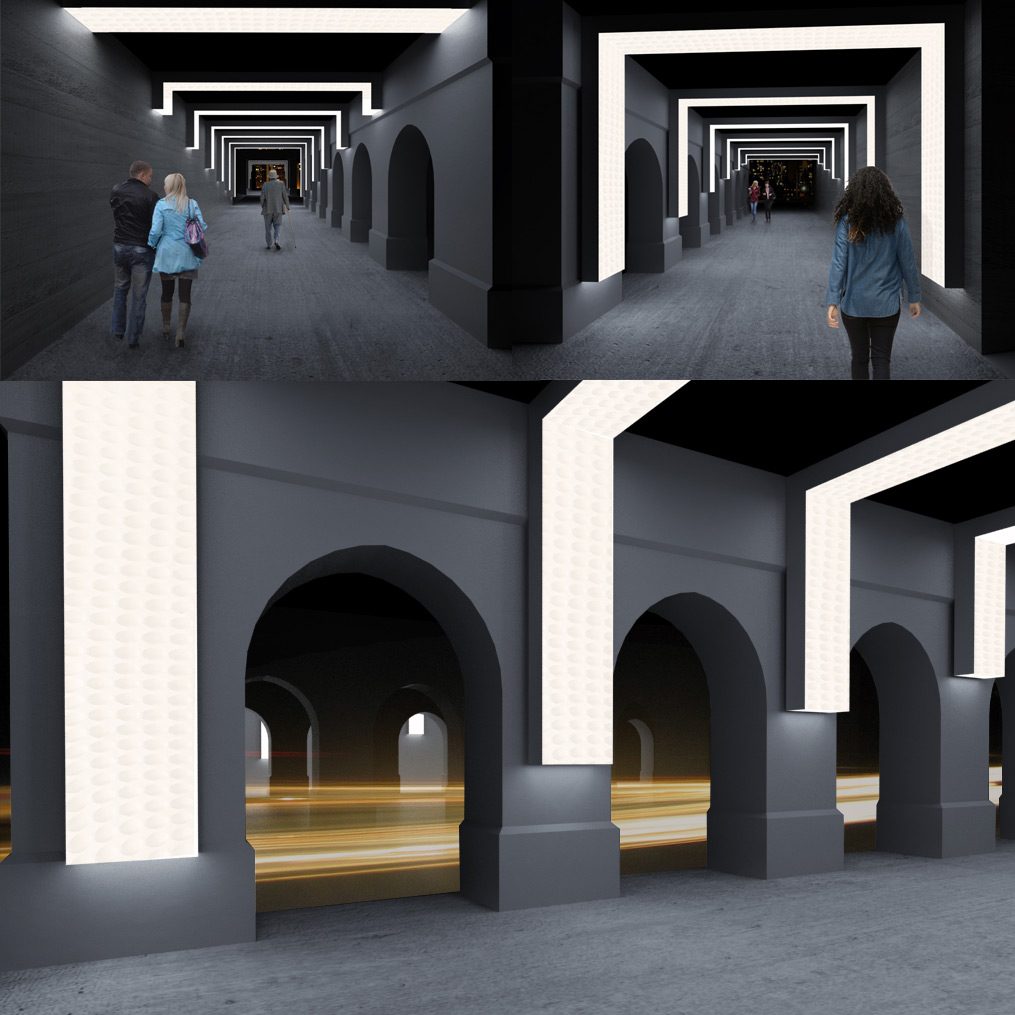 """Renderings of """"Resonance"""", a public art project that will transform Midtown Detroit's historic Second Avenue viaduct."""