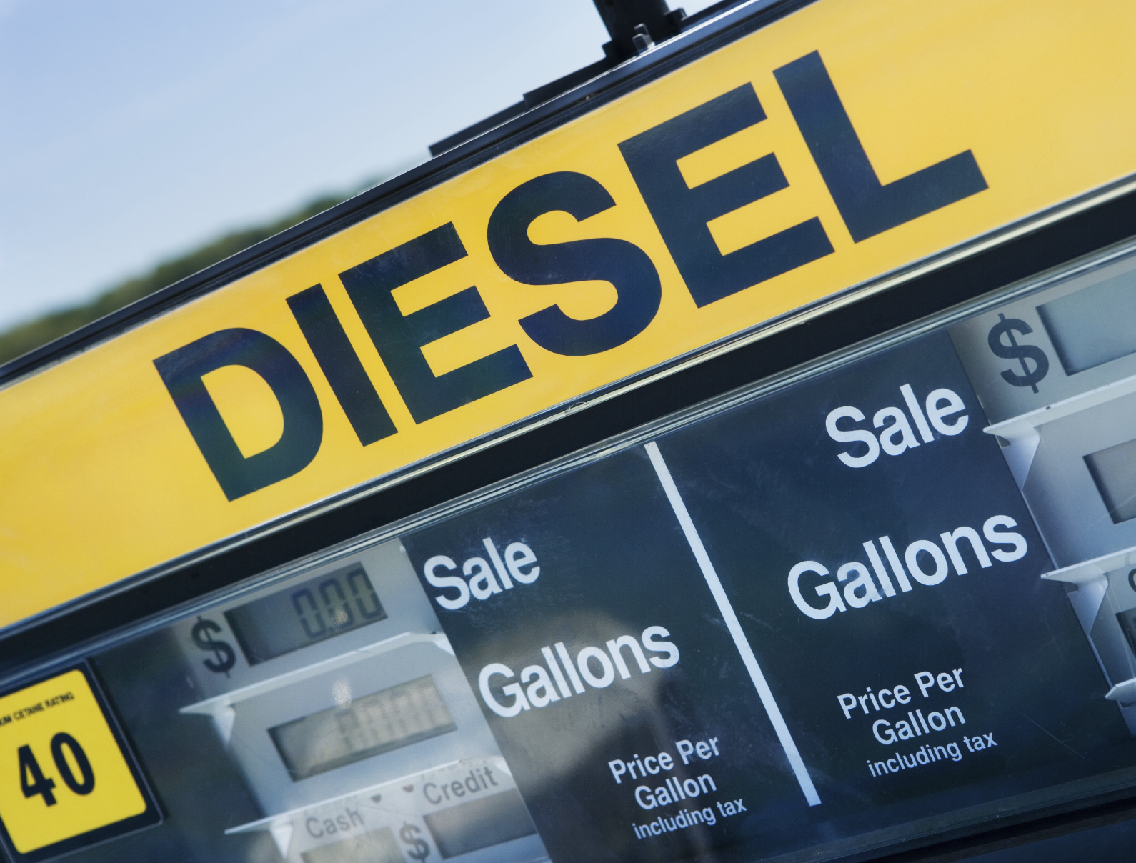 A picture of a diesel gas pump. (stock image)