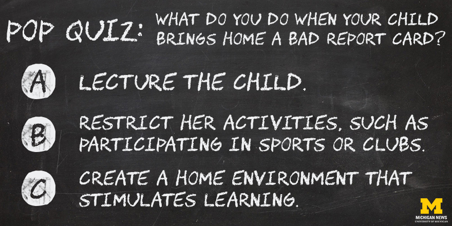 What do you do when your child brings home a bad report card?