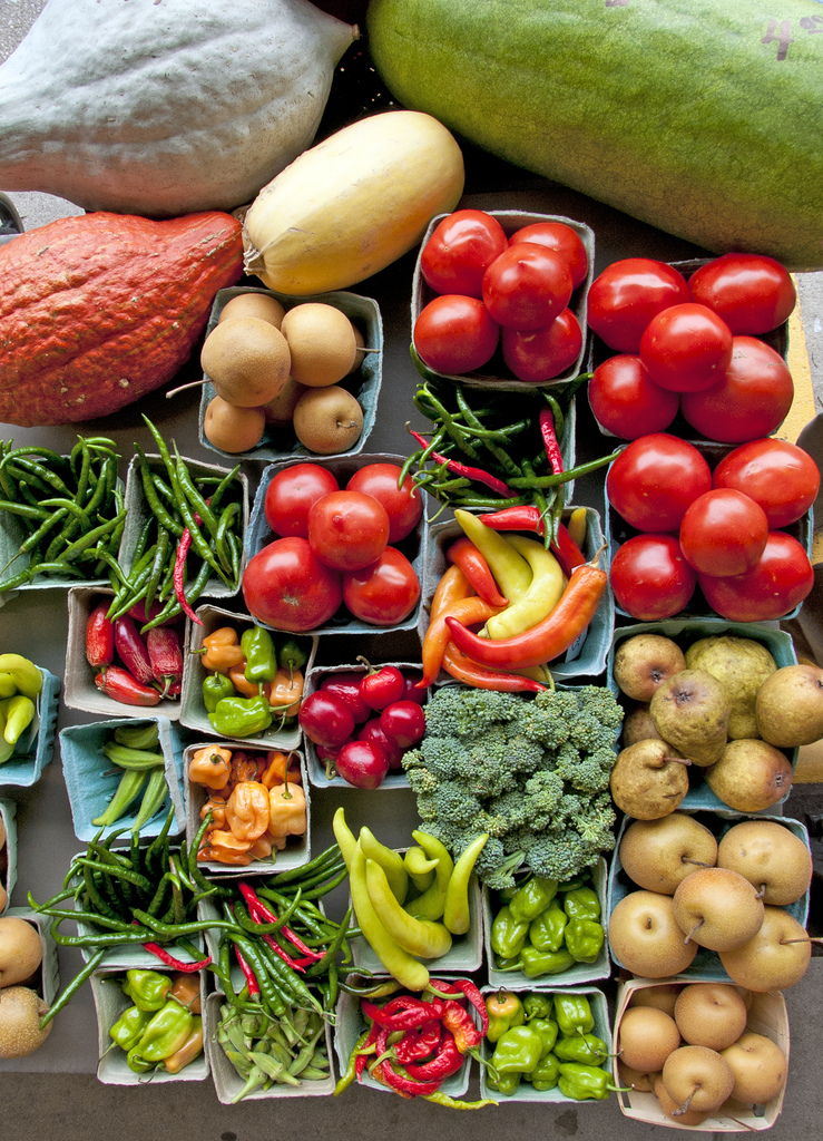 Baskets of fruits and vegetables. (stock image)