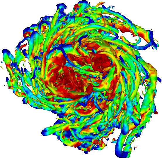 Turbulence simulations for a vortex such as a tornado, a galaxy, or the swirls that form at the tips of airplane wings. Image courtesy: Karthik Duraisamy, Aerospace Engineering