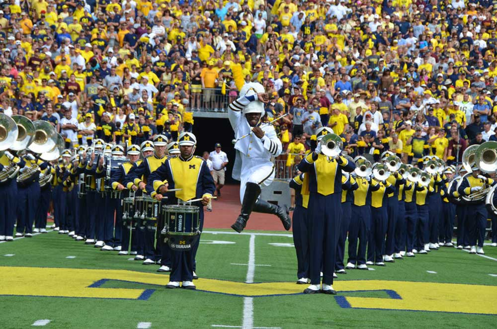 Michigan Marching Band. Courtesy of U-M School of Music, Theatre & Dance.
