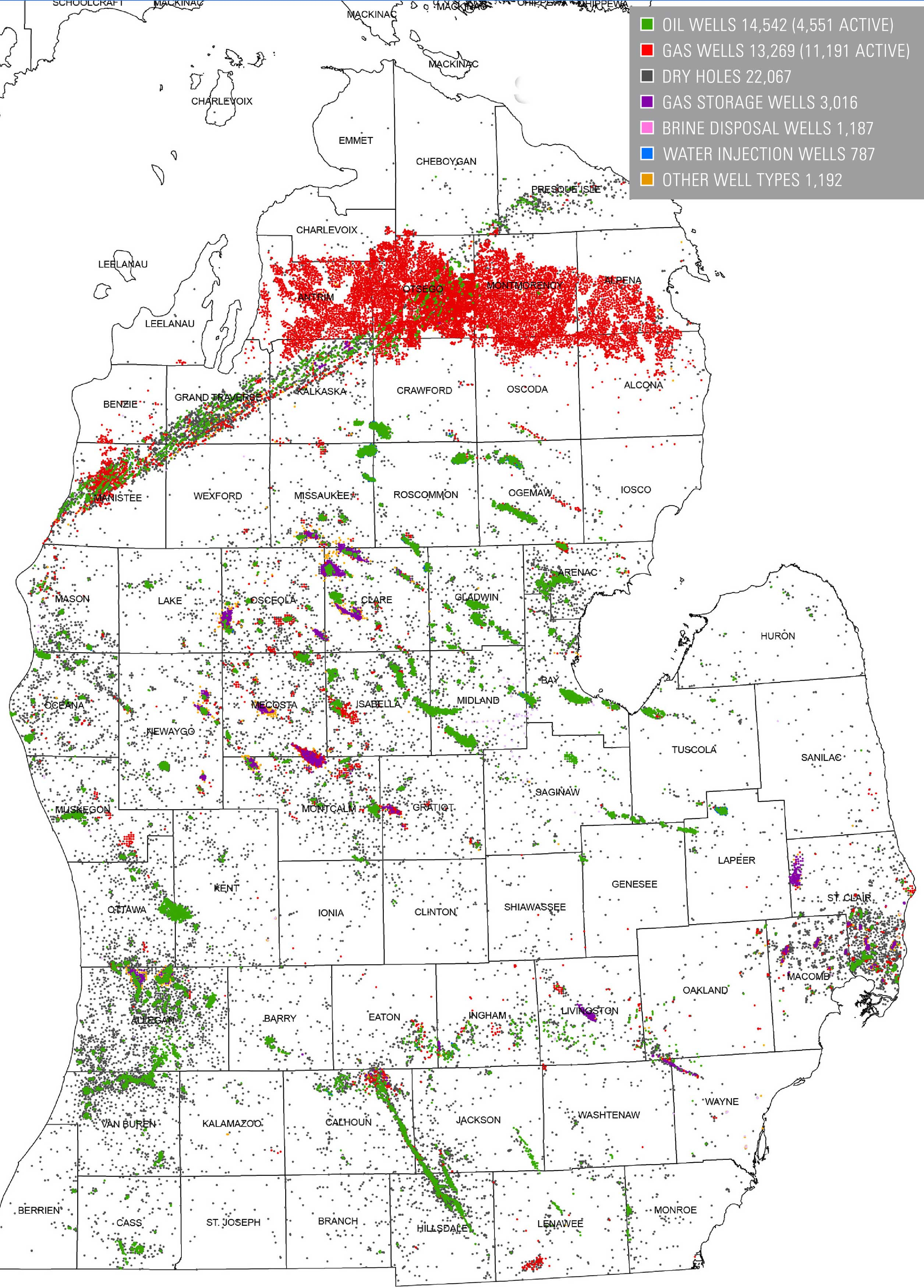 Oil and gas wells in Michigan's Lower Peninsula in 2005. Image courtesy: Michigan Department of Environmental Quality