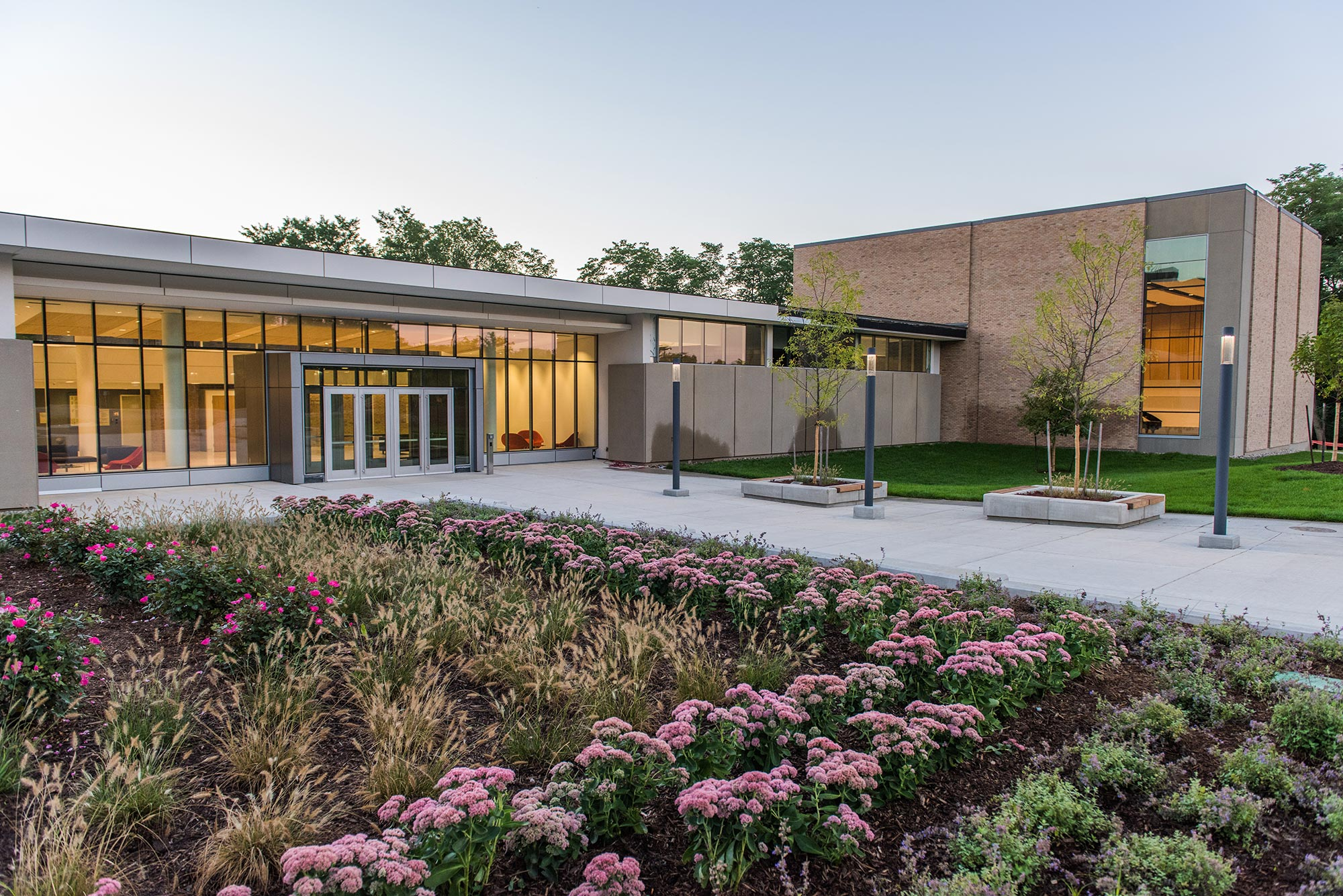 Brehm Pavilion, new main entrance to Moore Building. Images: Eric Bronson, Michigan Photography