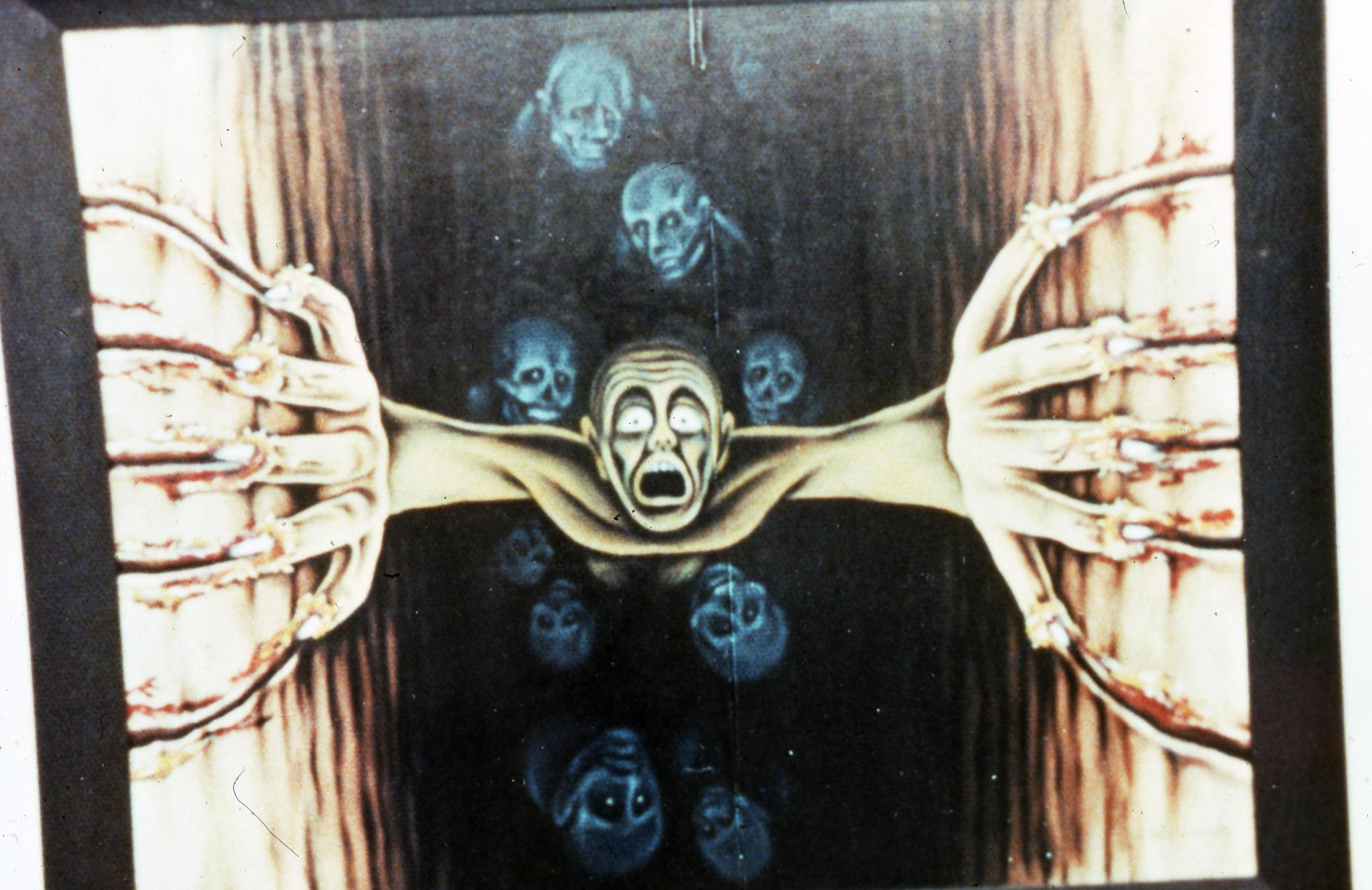 """Color photograph of painting by Jack Kevorkian """"Nearer My God to Thee"""" (oil, between 1963 and 1966) Painting was stolen from Kevorkian's storage in Long Beach, CA in circa 1989. Image courtesy the University of Michigan Bentley Historical Library"""