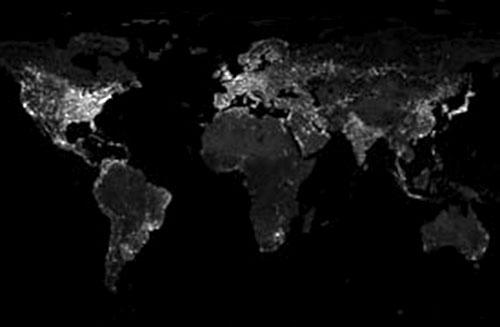 Luzes noturnas ao redor do mundo.