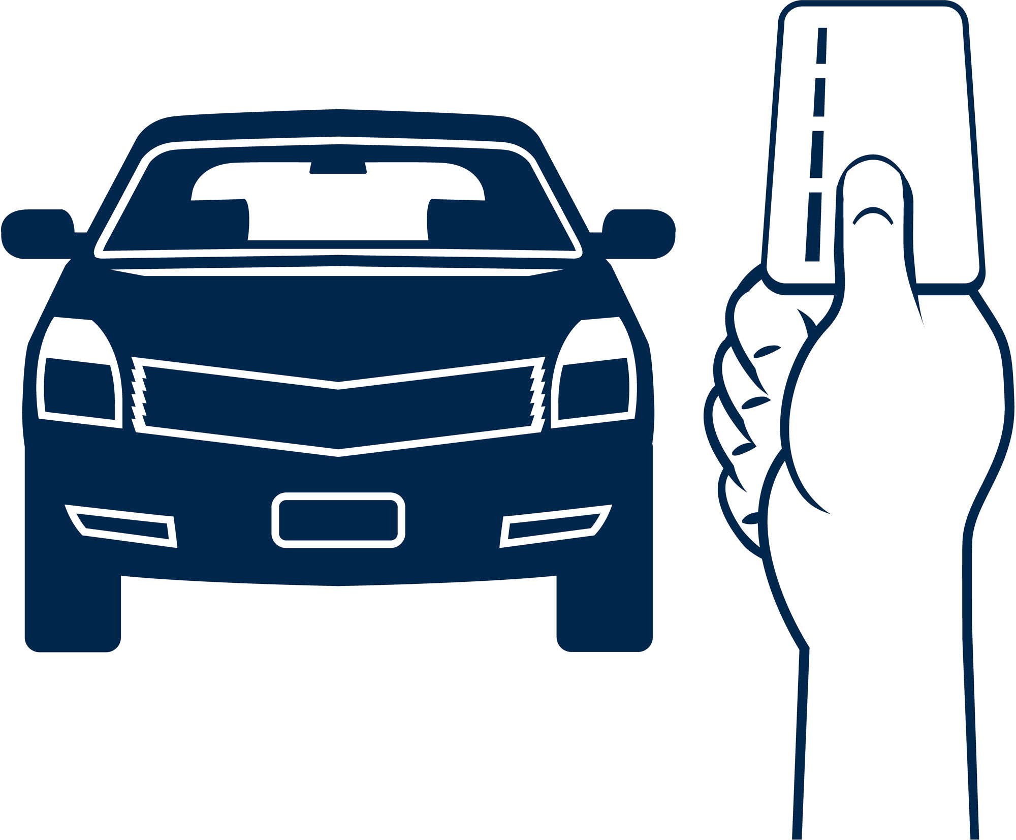 Car and card in hand illustration. (stock image)