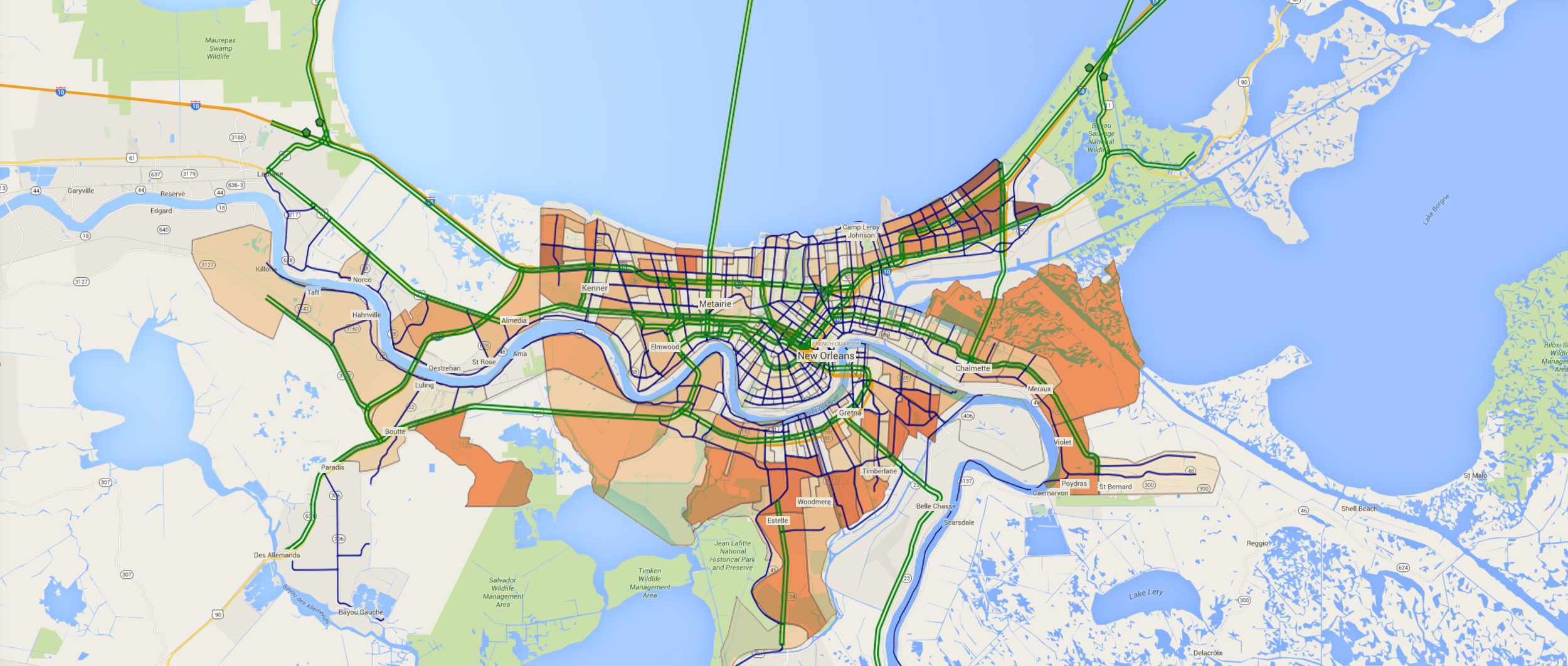 This map of New Orleans shows the sectors created by the optimized evacuation plan. Blue lines indicate secondary roads used in evacuation routes. Green lines indicate roads used as one-way contraflow evacuation routes. The orange shading indicates population density, with darker shading indicating greater density. Image courtesy: Pascal Van Hentenryck and K'Kio Hardin