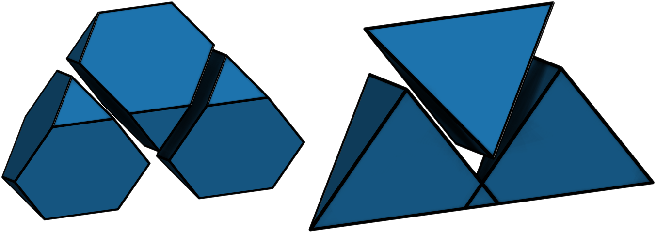 These four-sided pyramids, or tetrahedra, produce a diamond structure when their points are cut off. Image credit: Greg van Anders, Glotzer Lab, University of Michigan