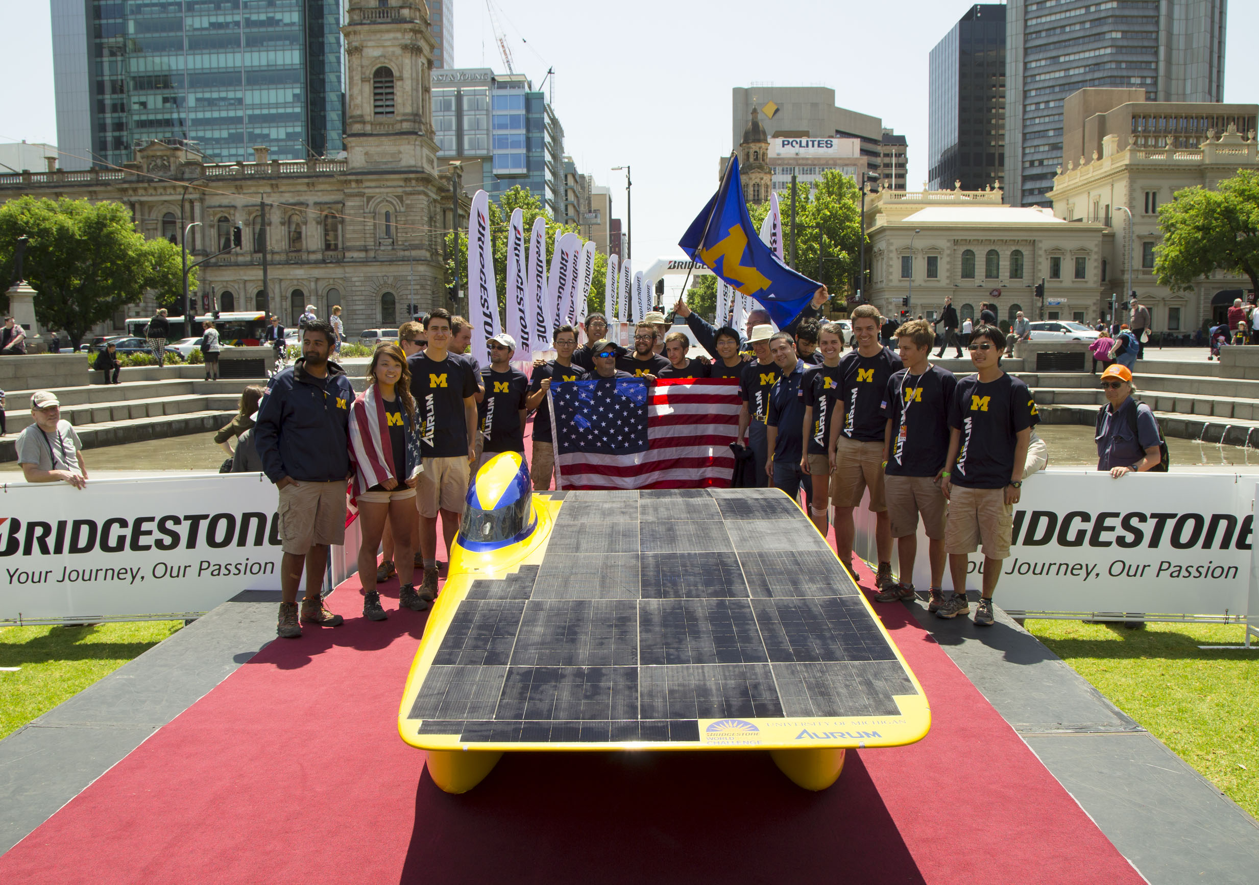 The U-M Solar Car Team finishes fourth in the 2015 Bridgestone World Solar Challenge. Image credit: Evan Dougherty, Michigan Engineering Communications & Marketing