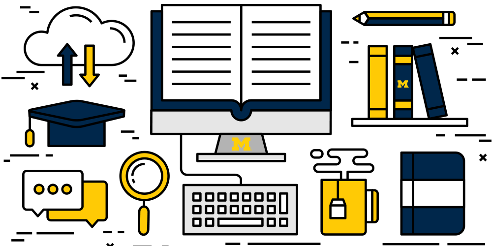An illustration of education tools in maize and blue.