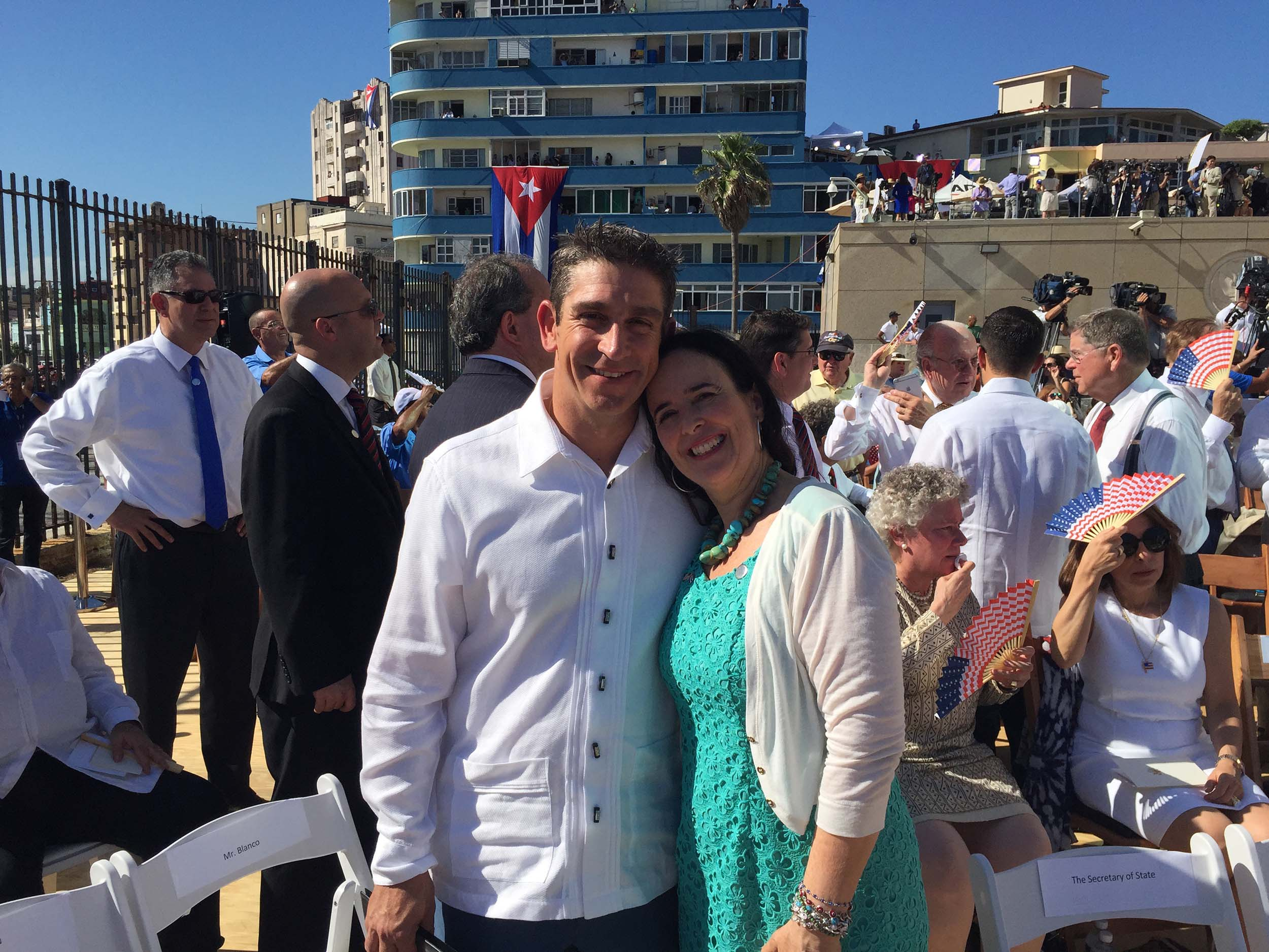 Behar and her friend of 20 years, Richard Blanco, during the re-opening of the embassy in Havana this summer. Behar and Blanco started this year the Bridges to Cuba: Lifting the emotional embargo to provide a space for Cubans from all over to tell stories 'with a soul.'