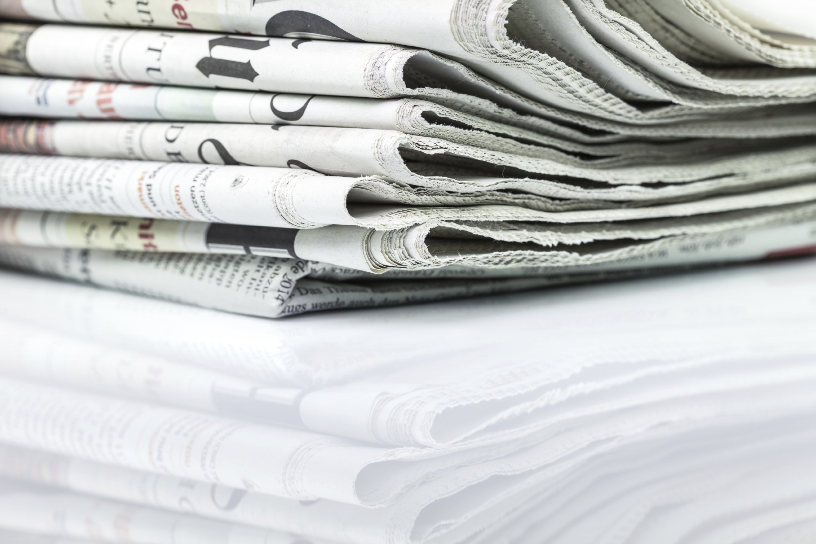 Stack of newspapers. (stock image)