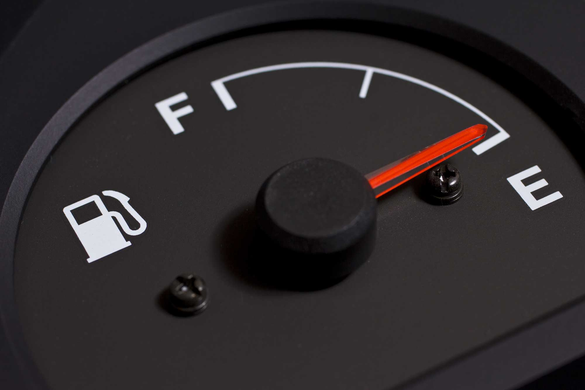 A vehicle fuel gauge showing full. (stock image)