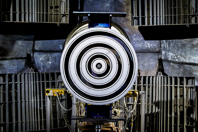 An X3 thruster that AERO Professor Alec Gallimore's team has been working on in conjunction with NASA in the Plasmadynamics & Electric Propulsion Laboratory in Ann Arbor, MI on April 28, 2015. The thruster is being built and tested with hopes of it powering humans to Mars in the near future. Image credit: Joseph Xu, Michigan Engineering Communications & Marketing