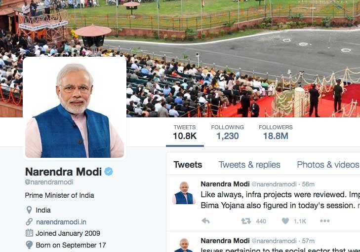 Clipped screenshot of Modi's Twitter page.