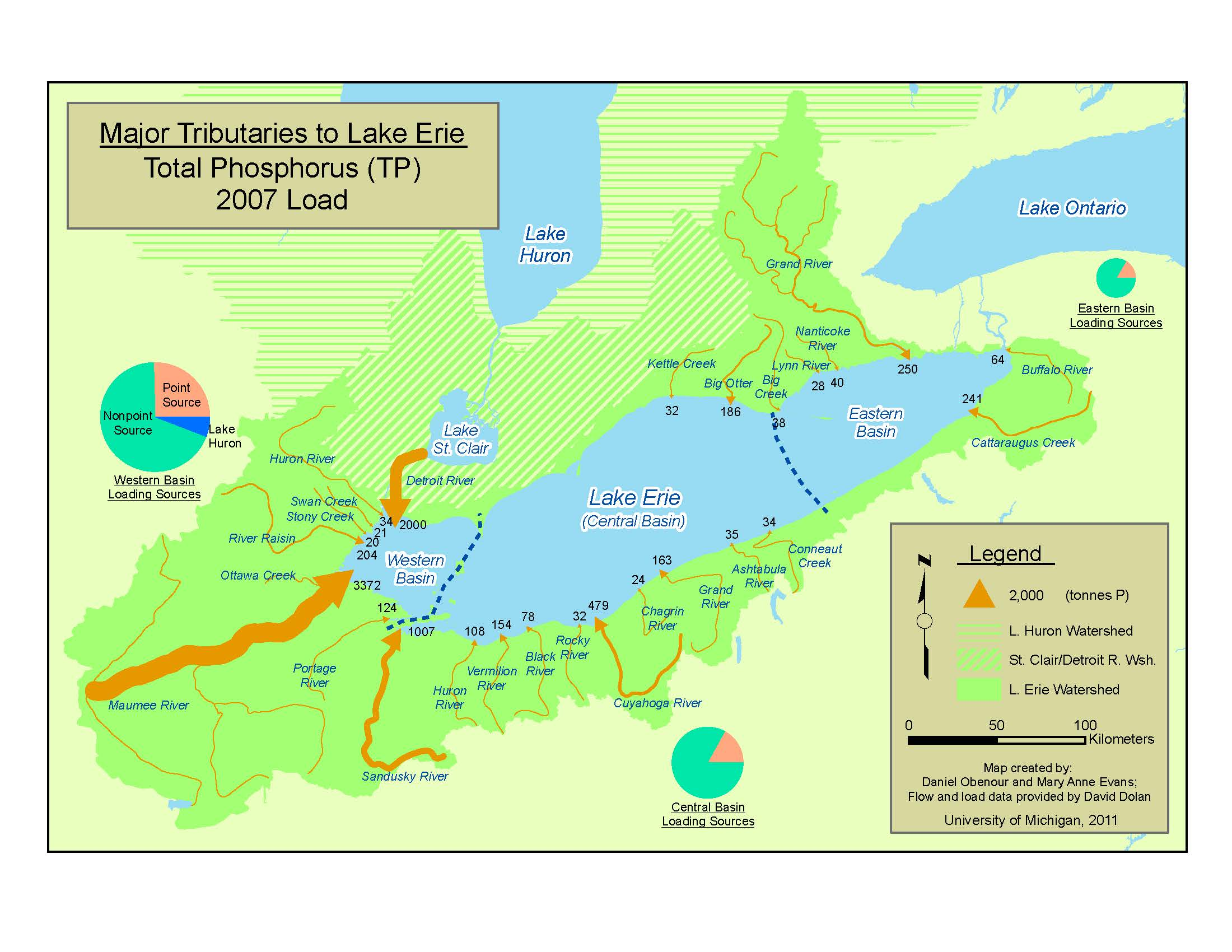 Map showing major tributaries of Lake Erie. Image credit: Daniel Obenour and Mary Anne Evans