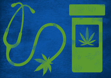 A stethoscope with a marijuana leaf and a pill bottle with a marijuana leaf.