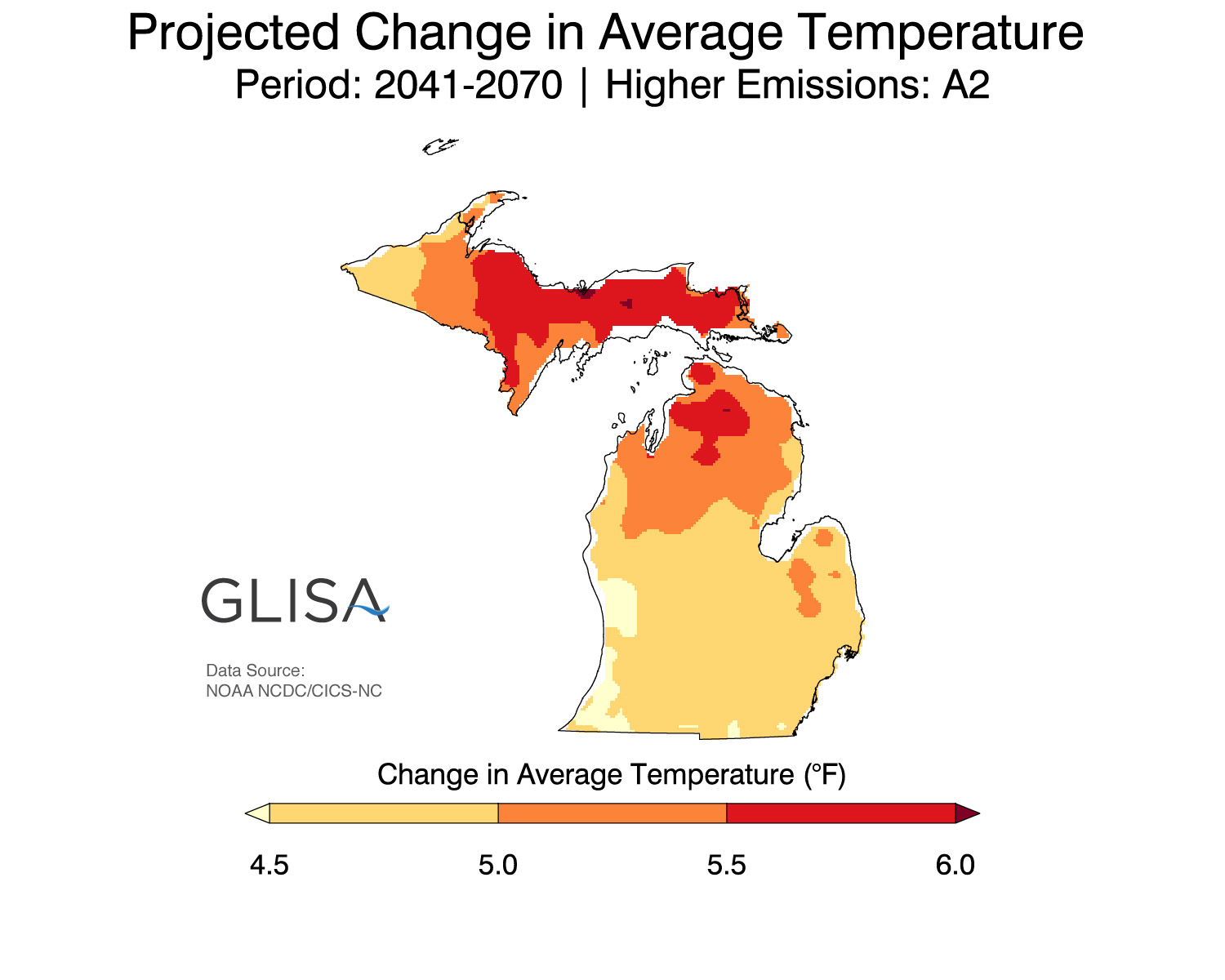 Projected change in average temperature. Image courtesy: GLISA