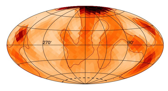 A polar starspot can be seen on the star zeta Andromedae. The placement of the spot shows how the magnetic activity of this large, fast-spinning star differs from the present-day magnetic activity of our sun. This image is shaped in this way because it's a projection of the star that allows researchers to see the star's entire surface. Images courtesy: Rachael Roettenbacher and John Monnier