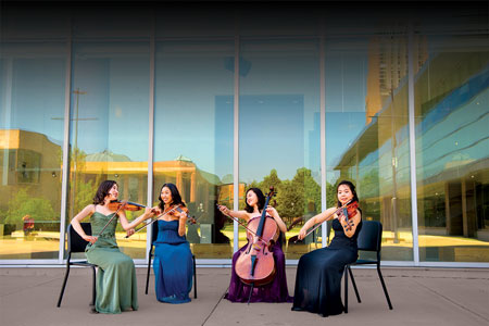 The Evita Quartet is the graduate string quartet in residence at the University of Michigan School of Music, Theatre & Dance. Hyorim Han & Haerim Liz Lee (violins), Yi-Chun Lin (viola), Soojung Kim (cello). Image credit: Eric Bronson