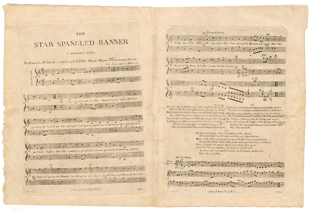 "1814 first sheet music edition of ""The Star-Spangled Banner,"" arranged by Thomas Carr; courtesy the William L. Clements Library, University of Michigan"