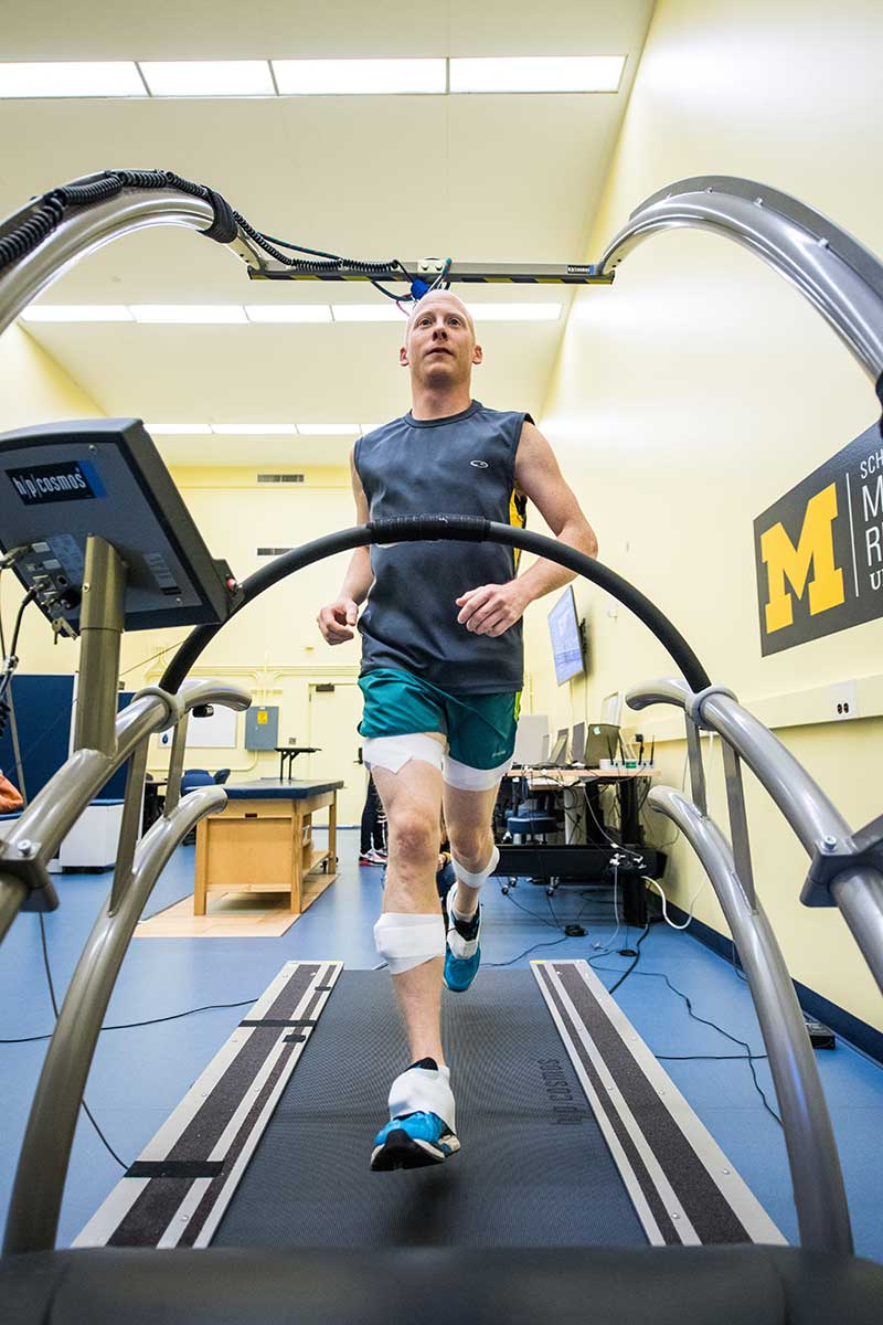 The Michigan Performance Research Laboratory (MiPR Lab) focuses on optimizing individual's athletic performance. MiPR employs the most advanced body-worn sensor technologies to evaluate an athlete. The data collected is used to develop more effective training strategies, equipment, and screening tools to improve an athlete's physical capabilities and long-term health. Image credit: Austin Thomason, Michigan Photography