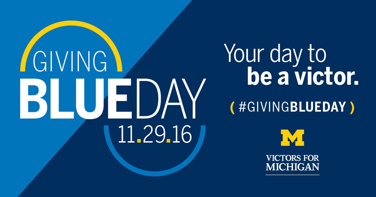 Graphic promoting the Giving Blueday initiative on November 29th.