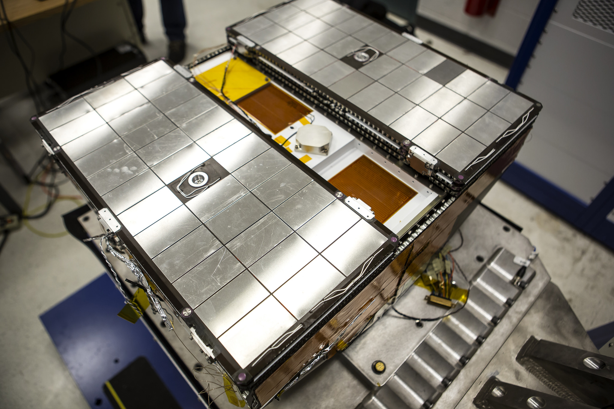 Overhead view of a prototype of one of eight microsatellite observatories. Image credit: Joseph Xu, Michigan Engineering