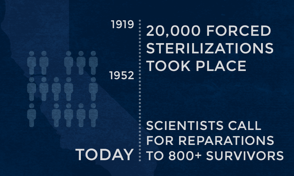 Timeline of the sterilizations that took place in California between 1919 and 1952.