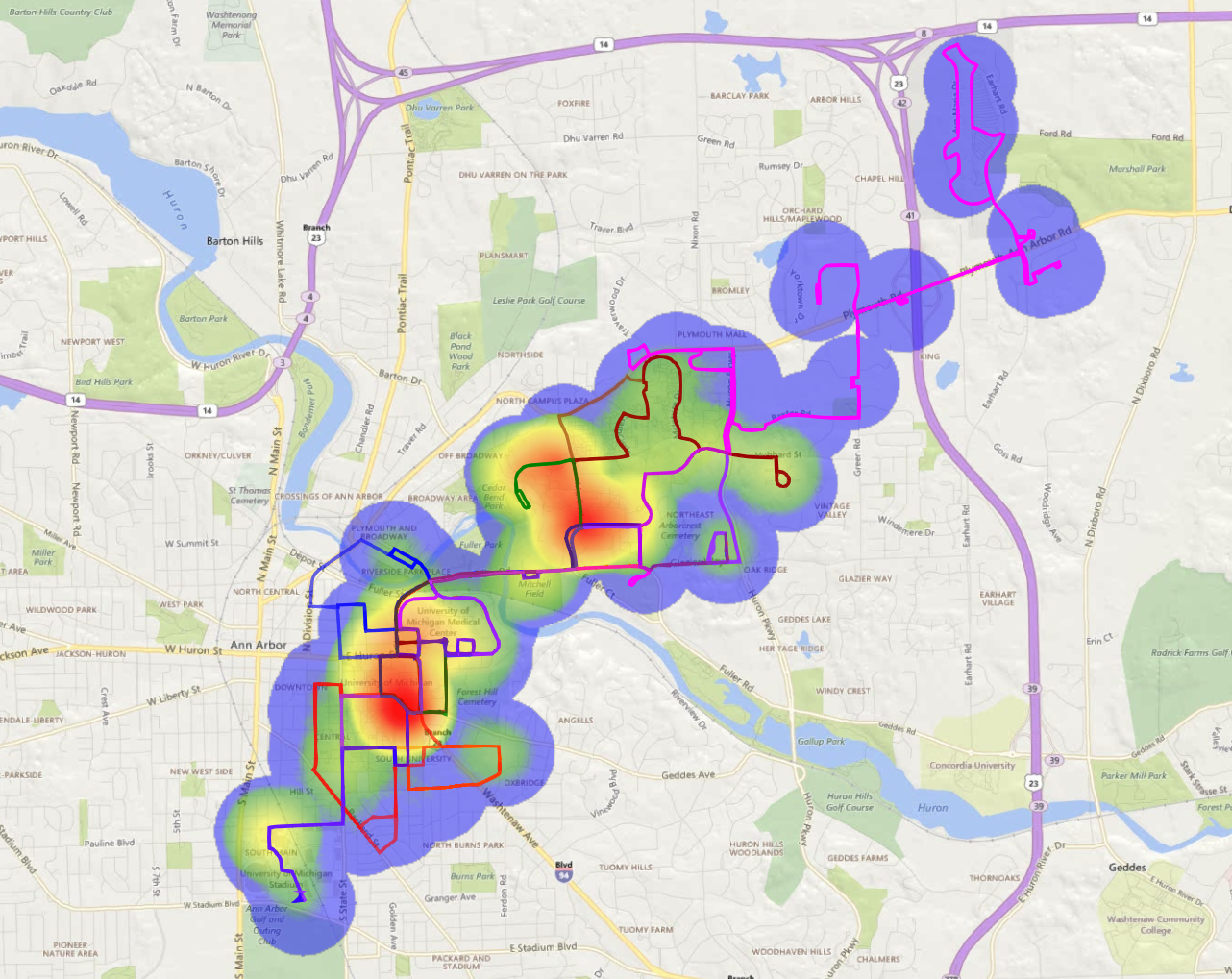 This heatmap shows usage of the current U-M bus system throughout the day. It shows that most usage is concentrated in a few high-traffic areas, while other areas show far less usage. Image credit: Courtesy of Pascal Van Hentenryck