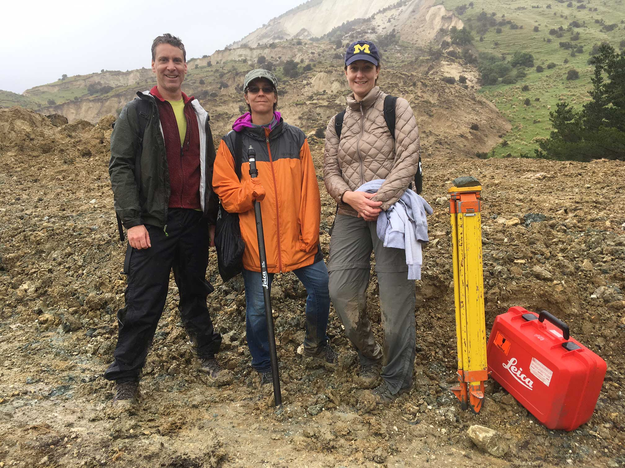 University of Michigan researcher Adda Athanasopoulos-Zekkos, right, in the field in New Zealand with two members of the Geotechnical Engineering Extreme Events Reconnaissance Association, J. Wartman of the University of Washington, left, and E. Rathje of the University of Texas. Image credit: John Manousakis