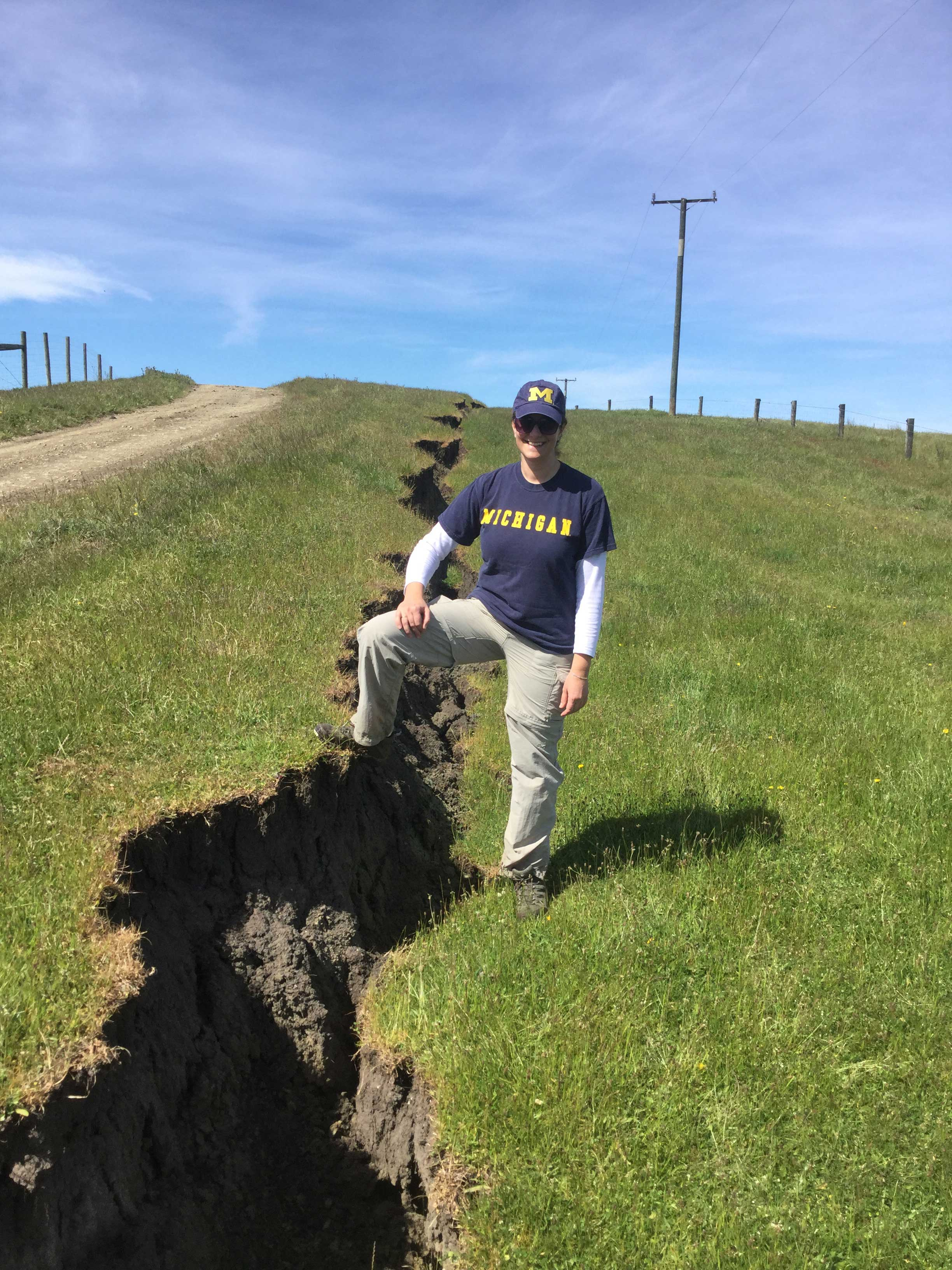 U-M researcher Adda Athanasopoulos-Zekkos at a fault-rupture site east of Hanmer Springs, New Zealand. Image credit: Joe Wartman