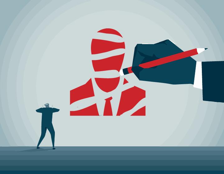An illustration of a hand erasing a businessman (stock image).