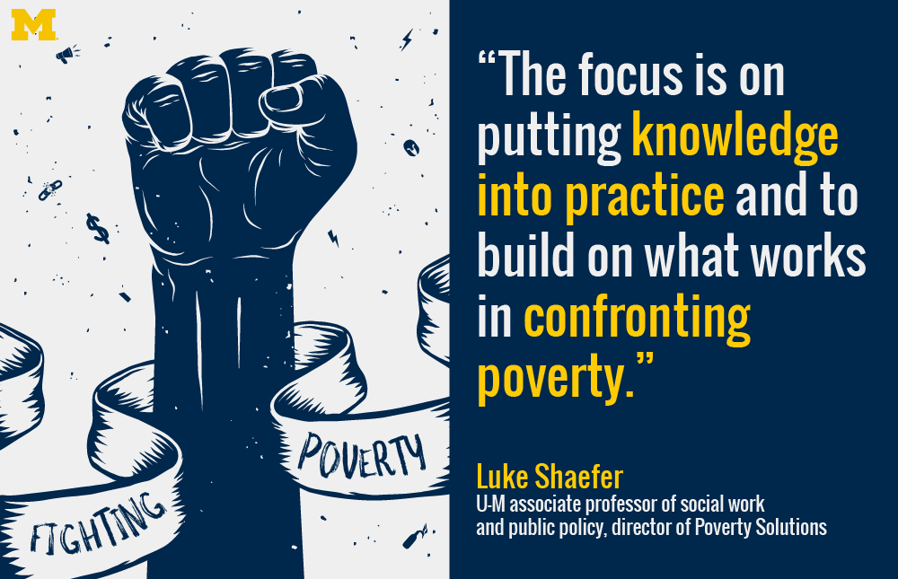 "A fist in the air with a banner around it that reads ""Fighting Poverty,"" beside a quote from Luke Schaefer."