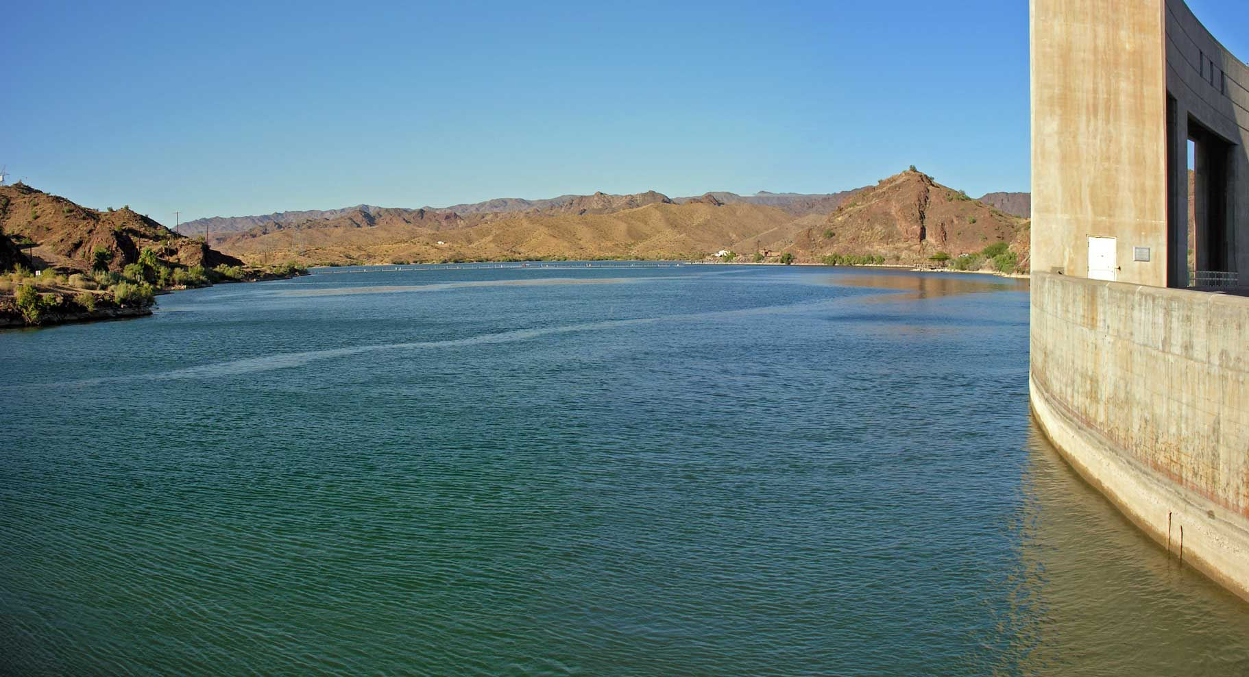 Lake Havasu on the Colorado River is the secondary source of drinking water for Phoenix, Arizona, supplying about 40% of Phoenix's water supply. 50% comes from the watersheds of the Verde and Salt Rivers, according to the official website of the City of Phoenix Water Services Department. Los Angeles also obtains a significant percentage of its water supply from Lake Havasu. Image credit: Wikimedia.org user Kjkolb