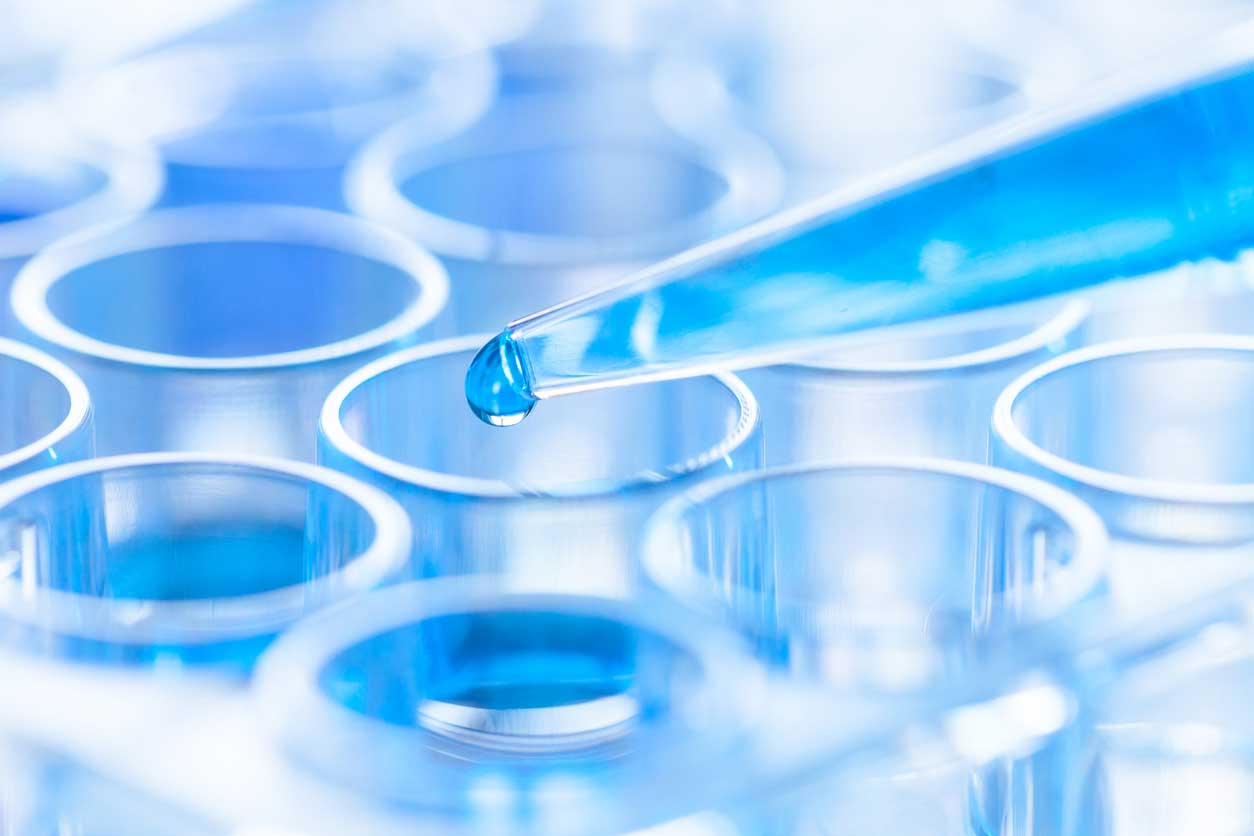 Pipette and test tube in a laboratory. (stock image)