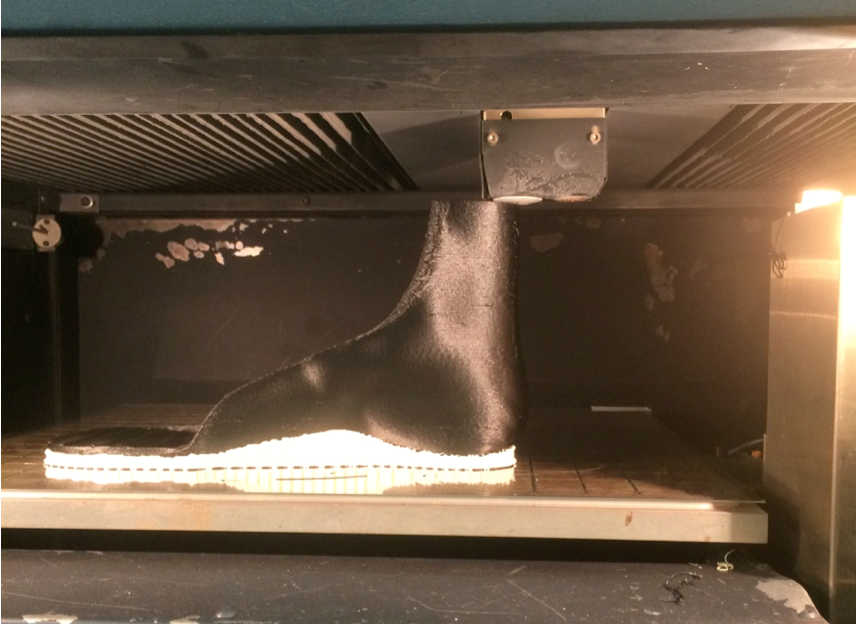 An orthodic device being 3D-printed at the U-M Orthotics and Prosthetics Center. Image credit: U-M Orthotics and Prosthetics Center