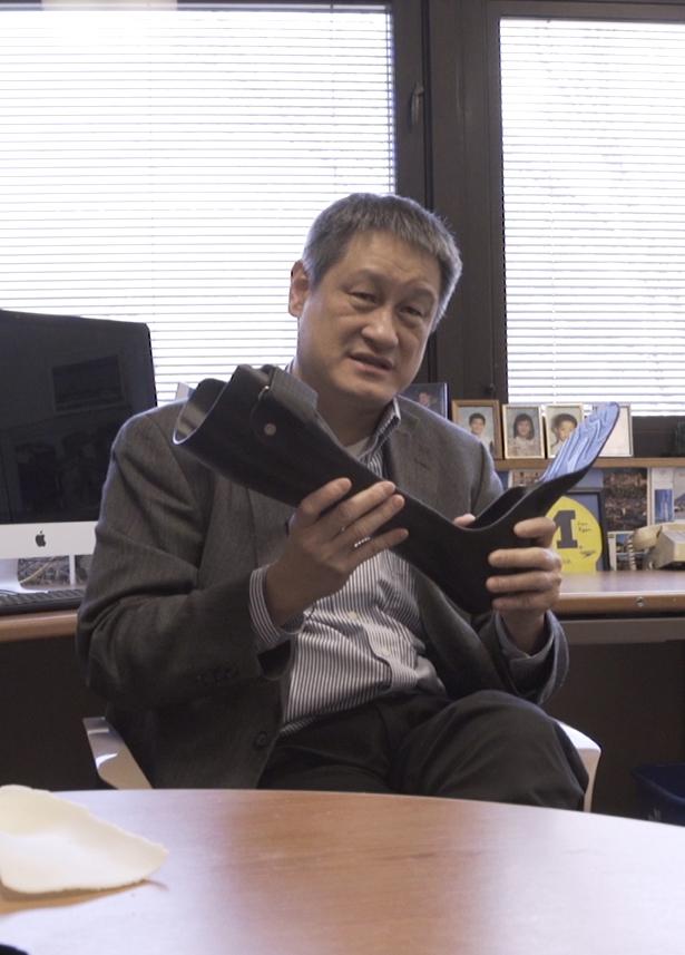 U-M professor Albert Shih displays a 3D-printed orthotic device. Image credit: Kelly O'Sullivan, Michigan Engineering
