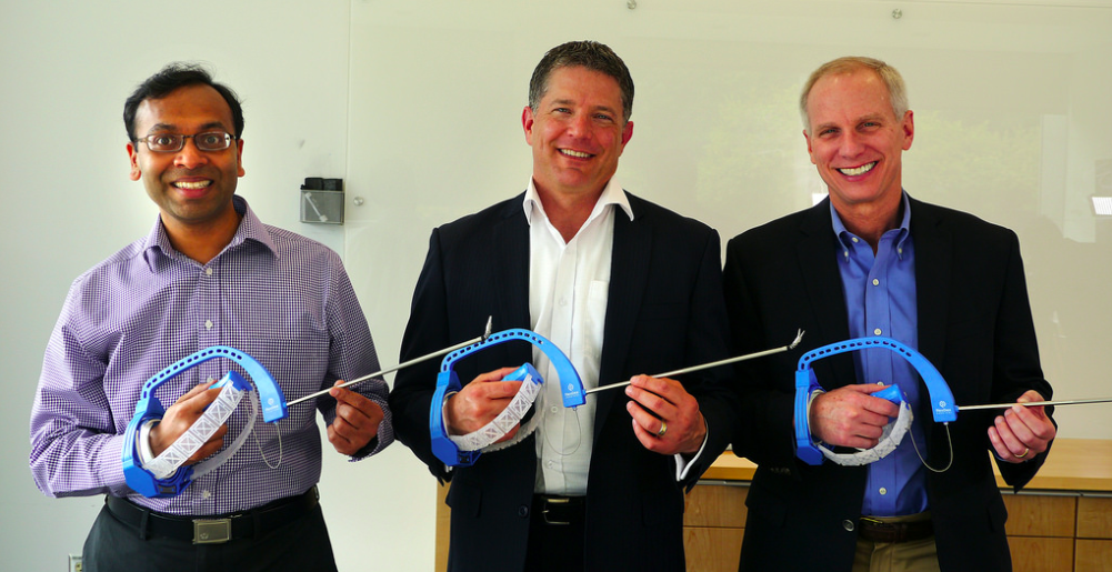 FlexDex co-founders (from left), Shorya Awtar, Greg Bowles and James Geiger. Image credit: Marcin Szczepanski
