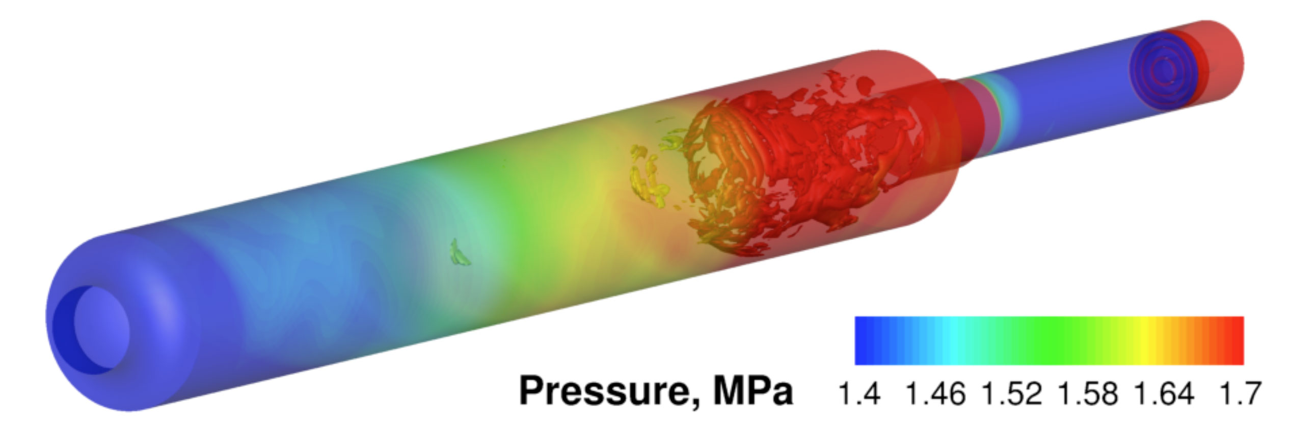 A simulation of combustion and pressure inside a rocket engine. The Air Force is funding research to predict whether new designs will be at risk of exploding. Image credit: Cheng Huang, Purdue University