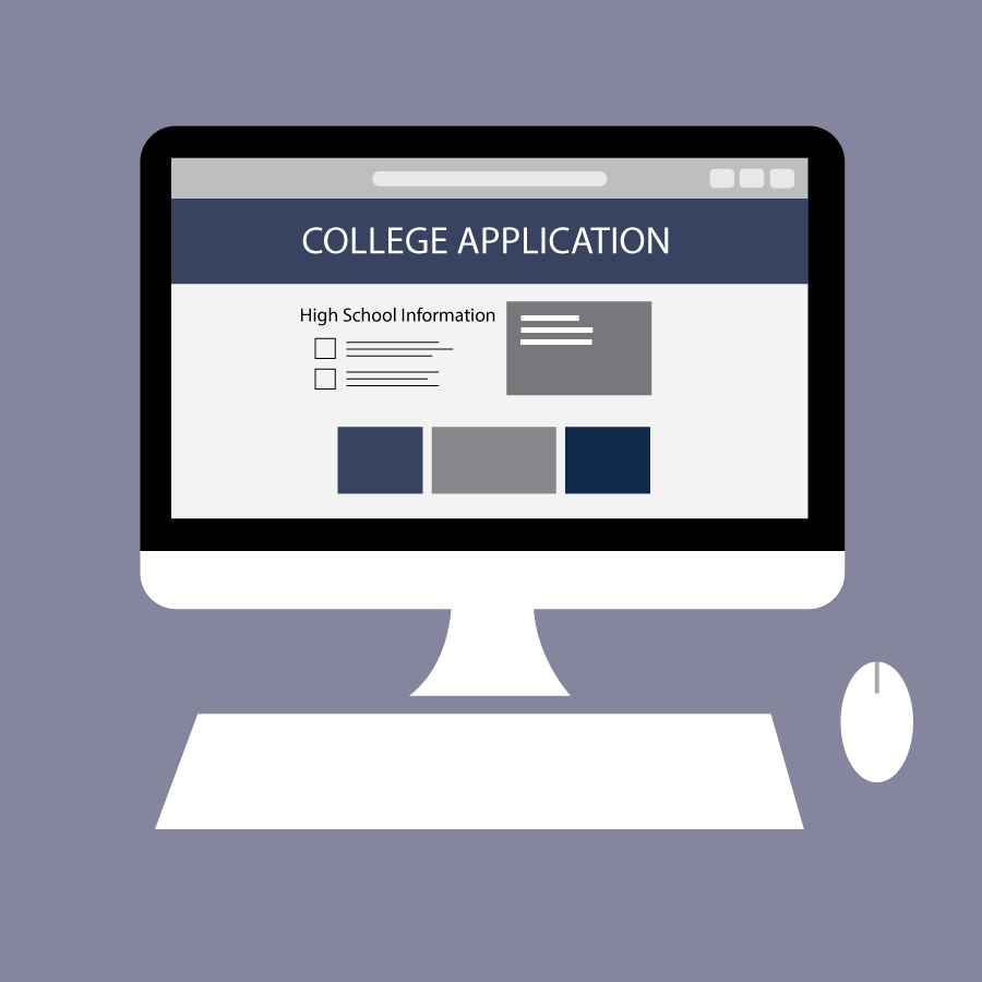 Illustration of a computer screen displaying a college application.