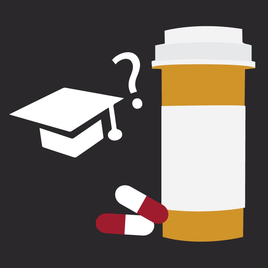 An illustration of a pill bottle and a graduation cap.
