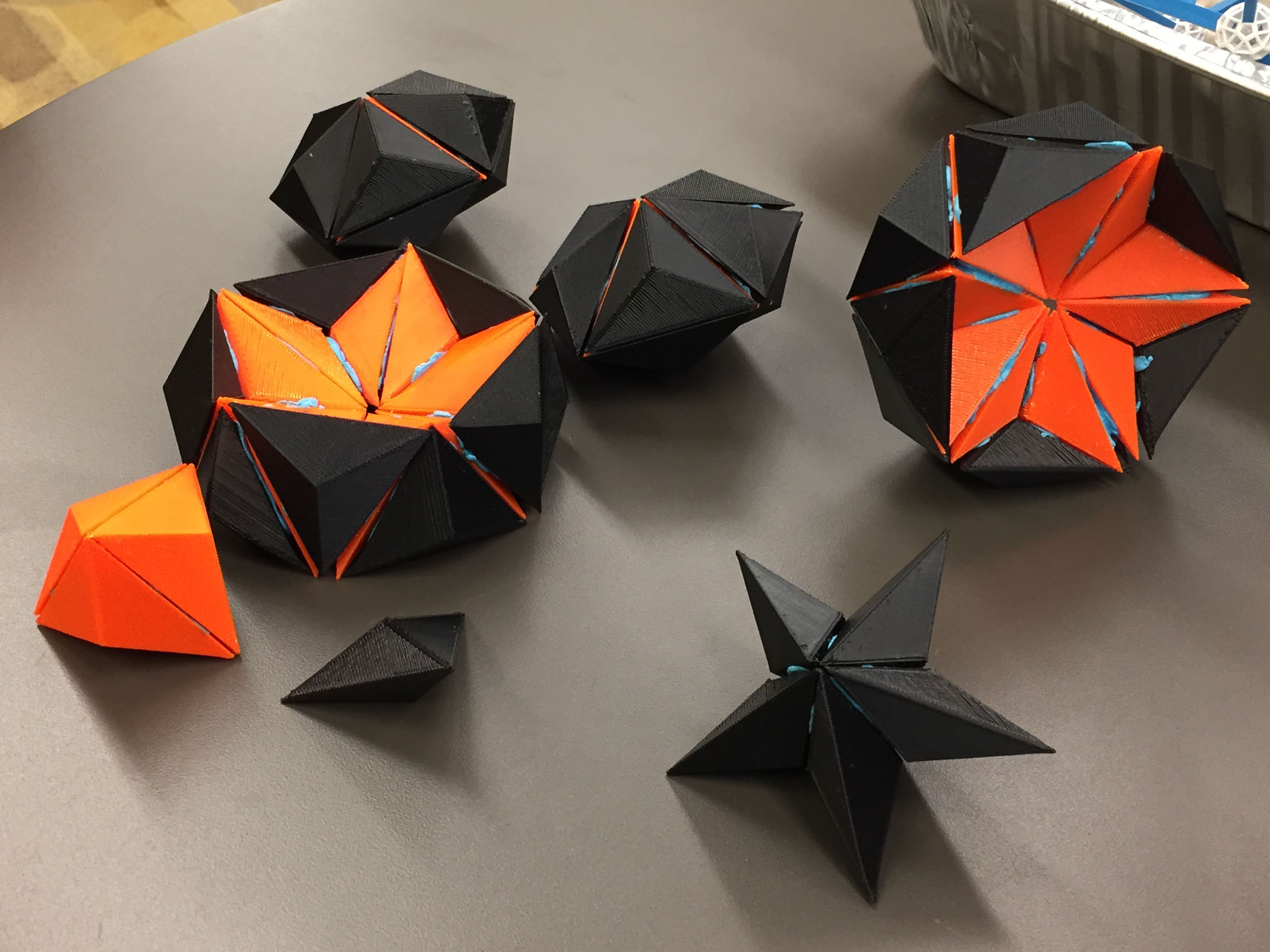 Once the Glotzer group received the electron microscope images from the Mirkin lab, they 3D printed the flattened bipyramids and glued them together to explore likely crystal structures. Image credit: Glotzer Group, University of Michigan.