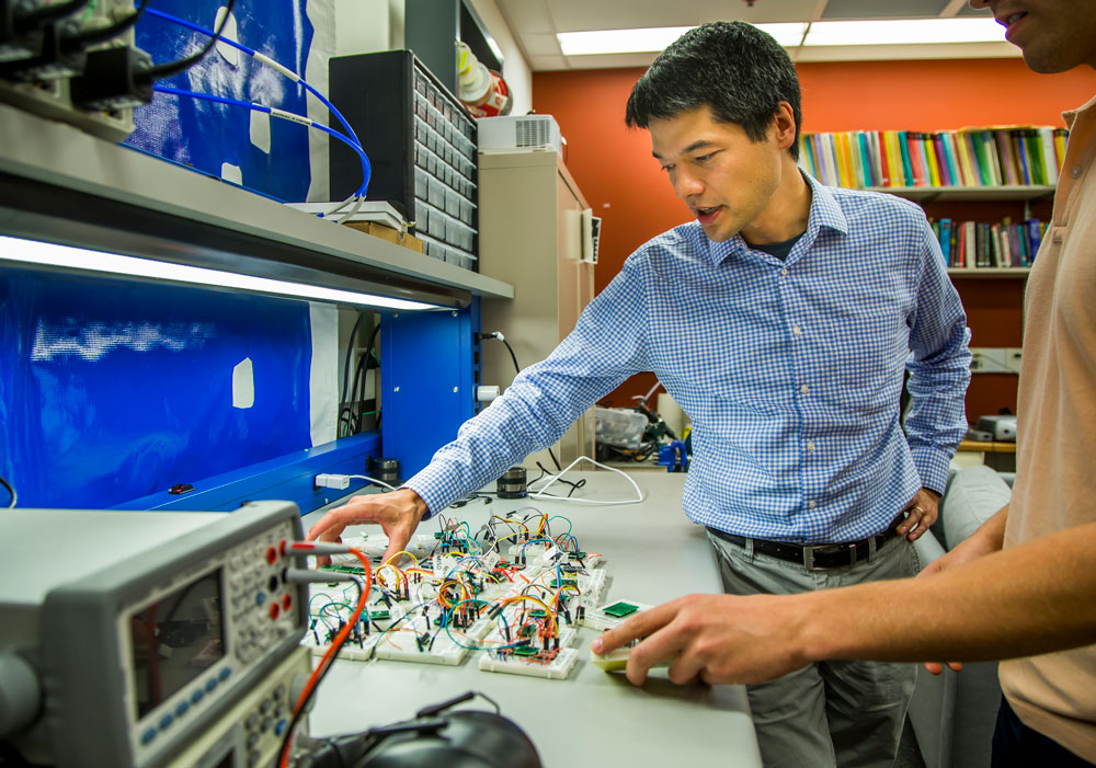 Kevin Fu, associate professor of computer science and engineering, led a team of researchers who used sound to trick hardware sensors called accelerometers in a host of popular consumer electronics. Image credit: Joseph Xu, Michigan Engineering