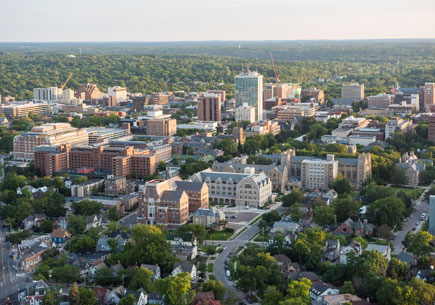 An aerial shot of the U-M campus.