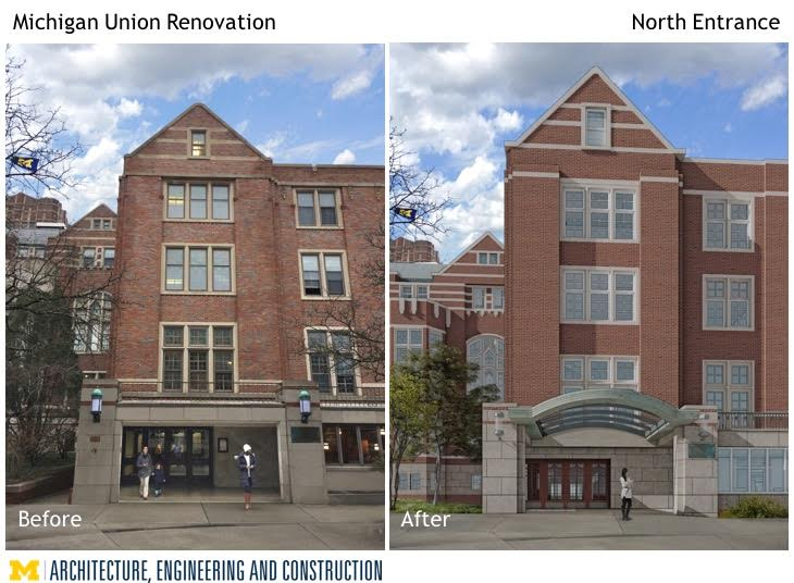 An artist rendering of the entrance renovation of the Union.