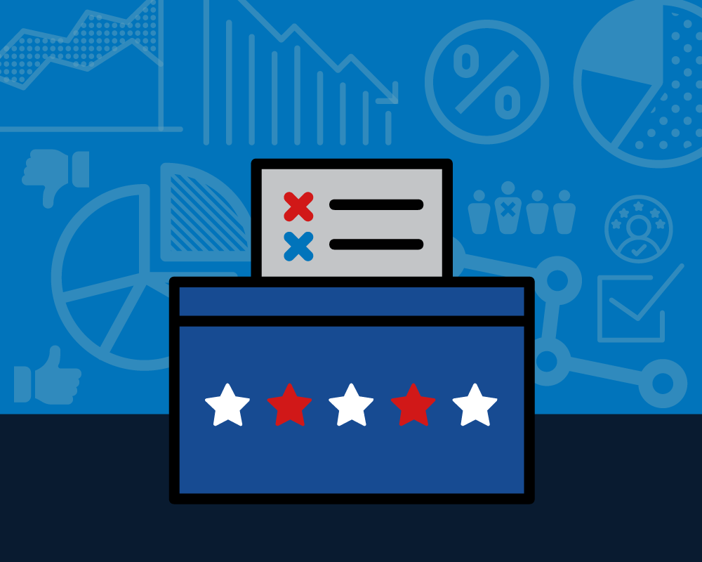 An illustration of a ballot box in front of charts and graphs of data.