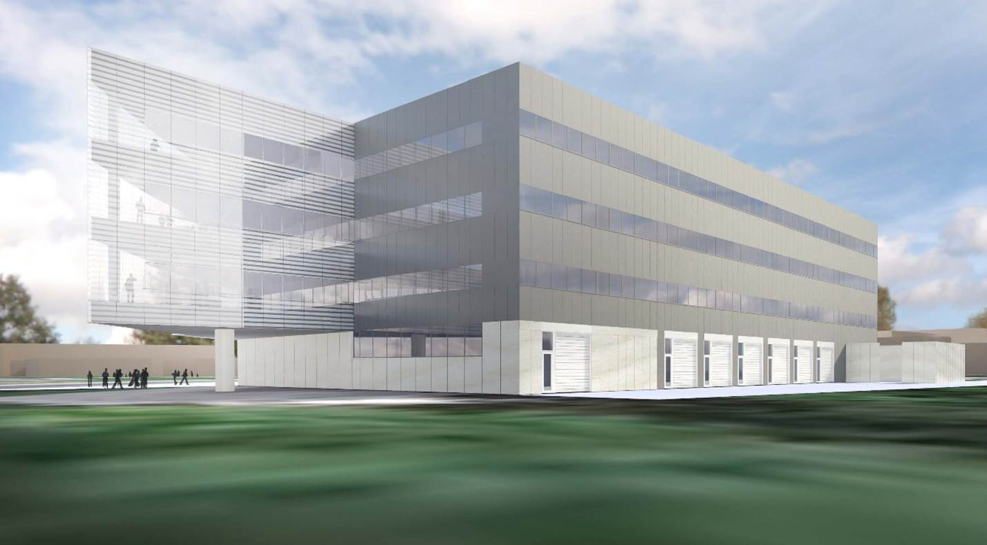 An architectural rendering of the northeast elevation planned Robotics Laboratory, which will be built northeast of the Space Research Building on the University of Michigan's North Campus.